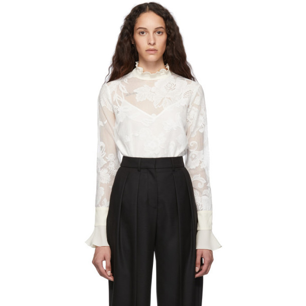 See by Chloe White Floral Mesh Blouse