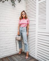 jeans,high waisted jeans,cropped jeans,straight jeans,high heel sandals,bag,striped top,white sunglasses