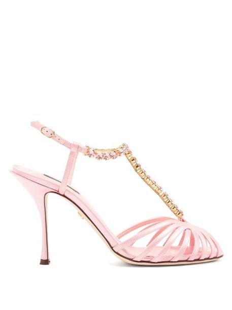 Dolce & Gabbana - Crystal-embellished T-bar Caged Satin Sandals - Womens - Pink