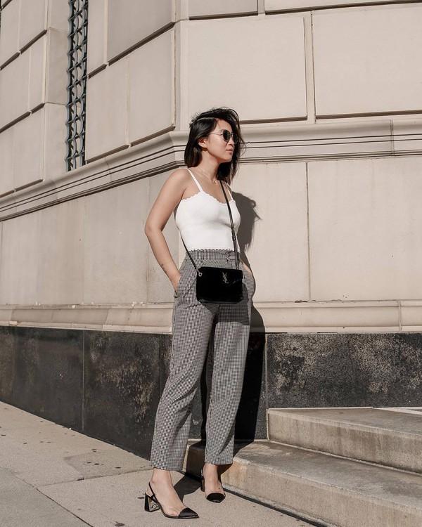 shoes slingbacks grey pants high waisted pants pleated straight pants white top black bag ysl bag