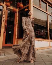 dress,floral dress,long sleeve dress,maxi dress,sandal heels
