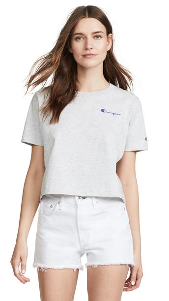 Champion Premium Reverse Weave Cropped Crew Neck T-Shirt in grey