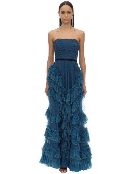 MARCHESA NOTTE Long Draped & Ruffled Tulle Dress W/lace in blue