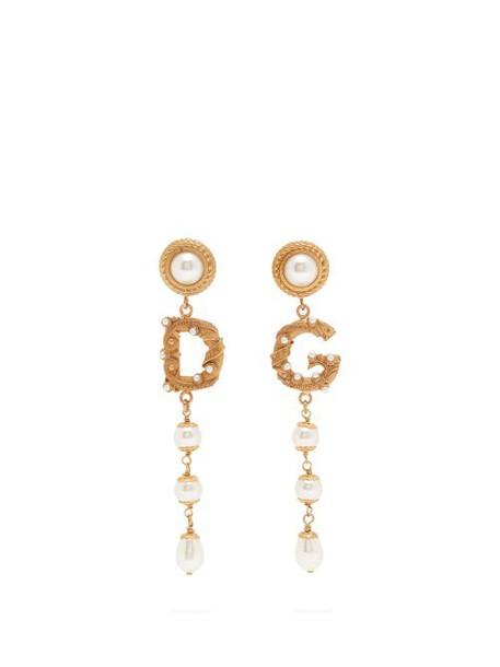 Dolce & Gabbana - Asymmetric Dg Logo And Faux Pearl Drop Earrings - Womens - Gold