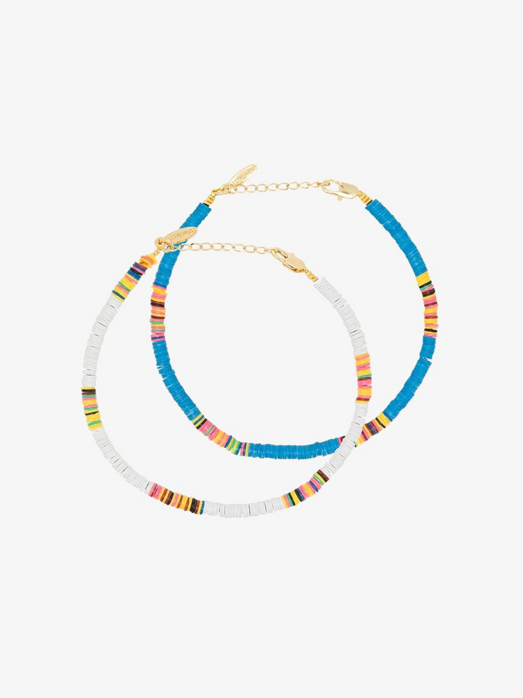 ALL THE MUST Multicoloured Heishi anklet set in white