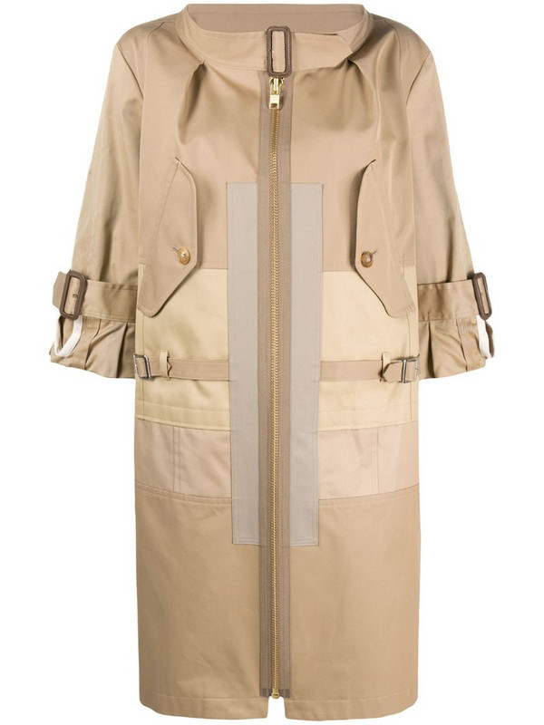 Junya Watanabe front zipped trench coat in neutrals