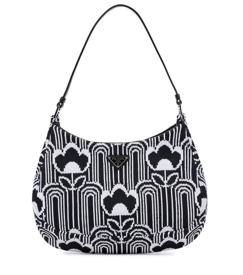 Prada Cleo jacquard-knit shoulder bag in white