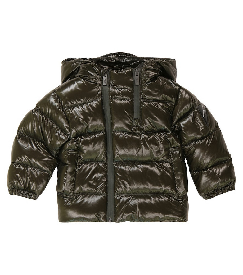 Emporio Armani Kids Hooded down coat in green
