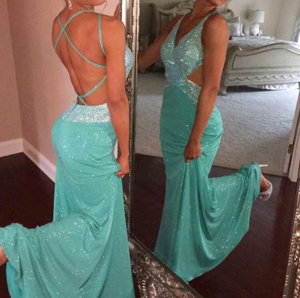 dress blue prom prom dress sparkle beautiful