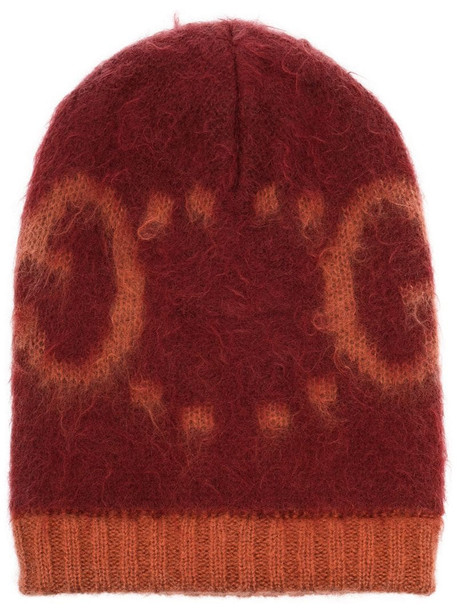 Gucci GG intarsia-knit beanie in orange