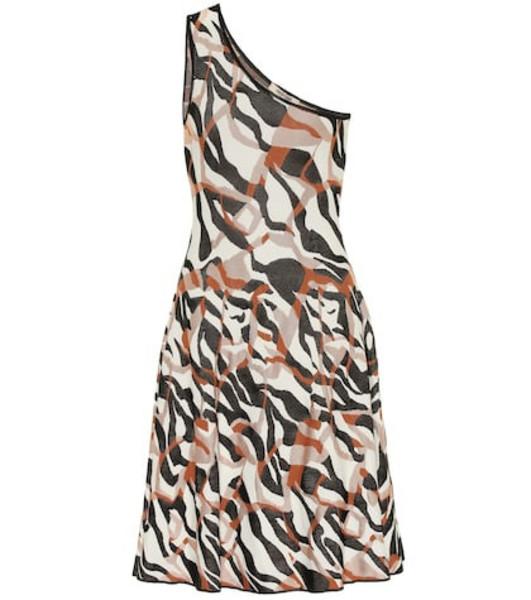 Roberto Cavalli One-shoulder jacquard minidress in brown