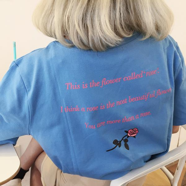 YOU ARE MORE BEAUTIFUL THAN FLOWER ROSE LETTERS PRINT AESTHETIC T-SHIRT