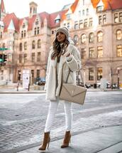 coat,faux fur coat,h&m,brown boots,heel boots,ankle boots,white jeans,ysl bag,beanie,white sweater,turtleneck sweater