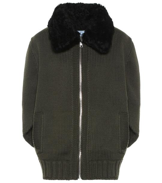 Prada Fur-trimmed wool jacket in green