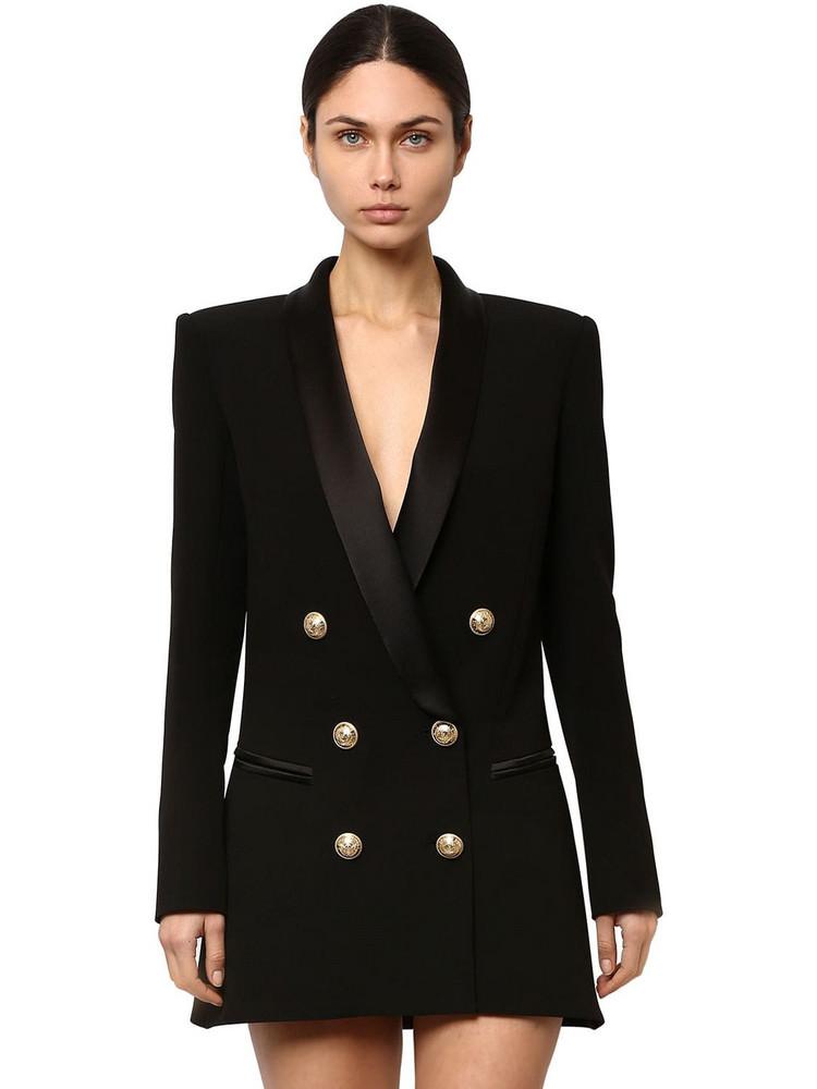 BALMAIN Double Breasted Viscose Dress Jacket in black