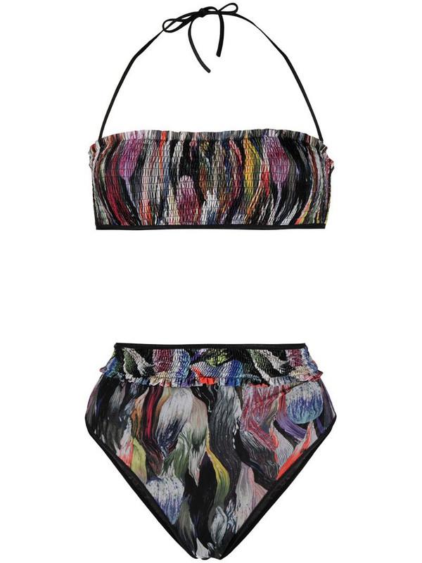 Missoni Mare smocked bandeau bikini in black
