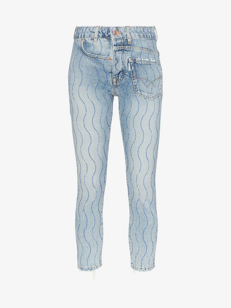 Filles A Papa crystal wave-embellished twisted jeans in blue