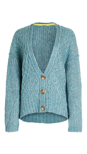 Free People Molly Cable Cardigan in teal