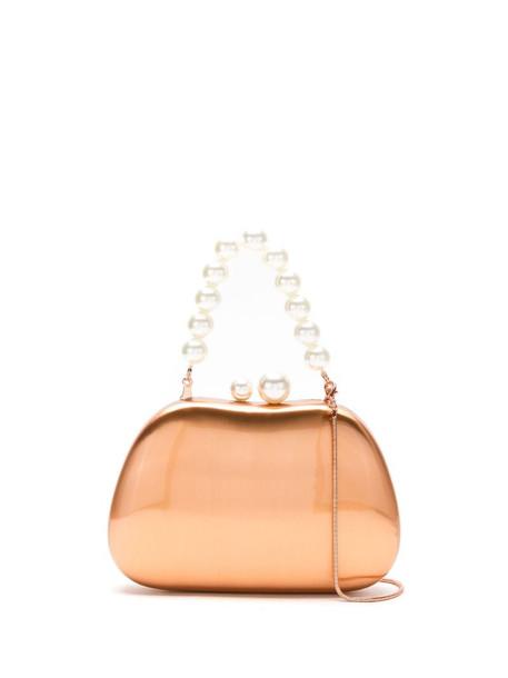 Isla Metal clutch bag with pearls in metallic