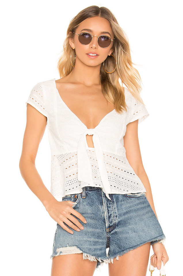 MINKPINK Julep Lace Tie Front Top in white