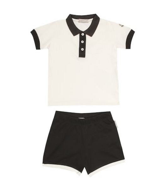 Moncler Enfant Cotton polo shirt and shorts set in white