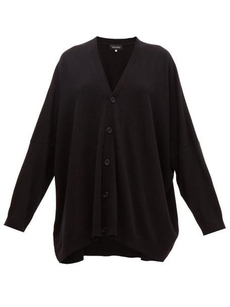 Eskandar - Wide V Neck Cashmere Cardigan - Womens - Black