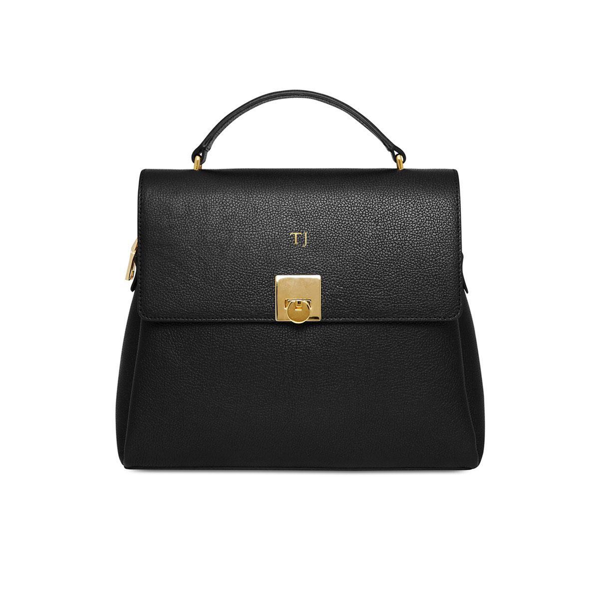 Grainy Black Top Handle Bag (Gold Zip)