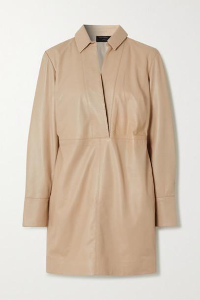 EQUIPMENT - Riannon Leather Mini Dress - Beige
