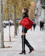 jacket,puffer jacket,red jacket,dior,over the knee boots,black boots,black leather skirt,mini dress,leather dress,black turtleneck top