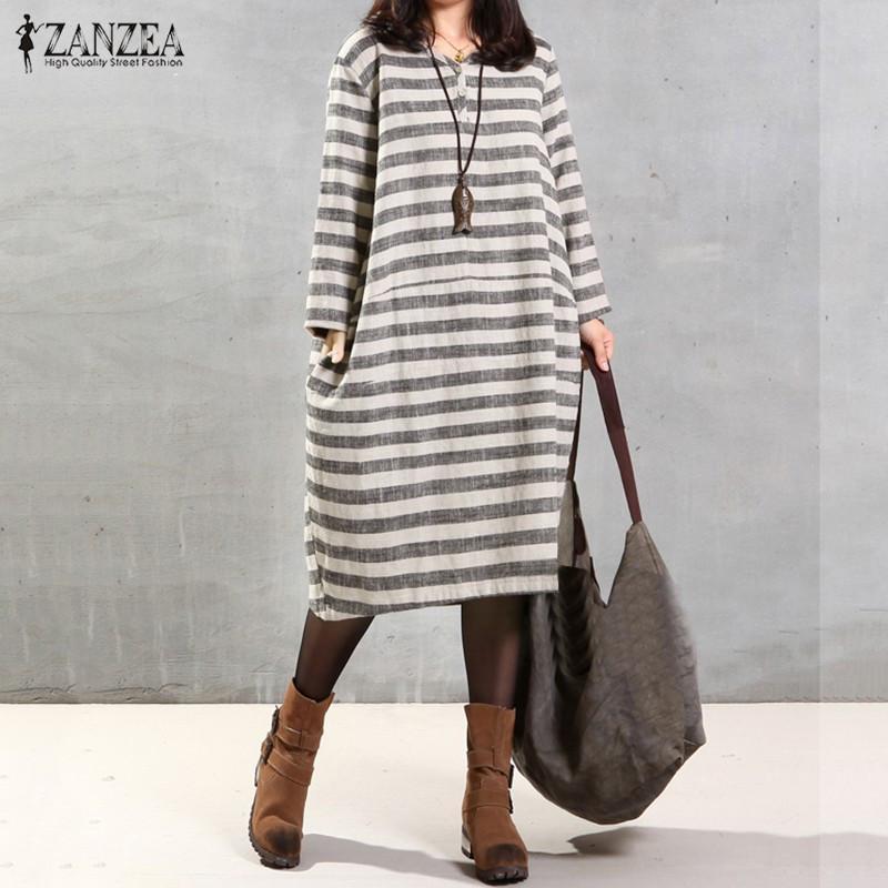 Autumn Casual Loose Vintage Stripe Dresses