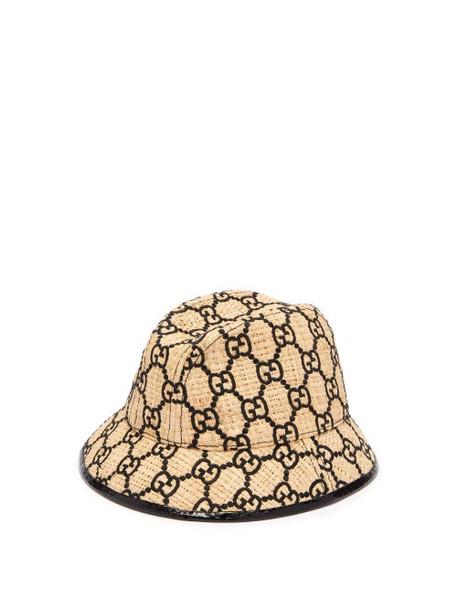 Gucci - Gg Logo Snakeskin Trim Raffia Bucket Hat - Womens - Black