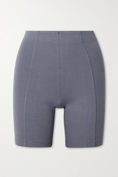 NINETY PERCENT - + Net Sustain Stretch Organic Cotton-jersey Shorts - Gray