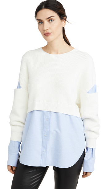 alexanderwang.t Ribbed Bi Layer Pullover with Oxford Shirt in ivory