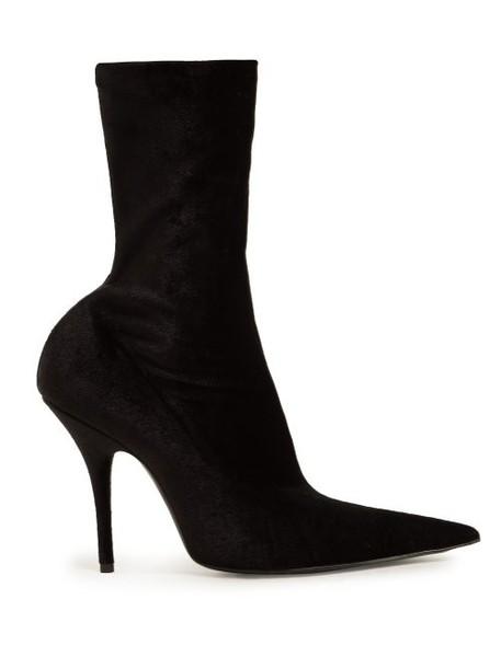 Balenciaga - Point Toe Velvet Sock Ankle Boots - Womens - Black