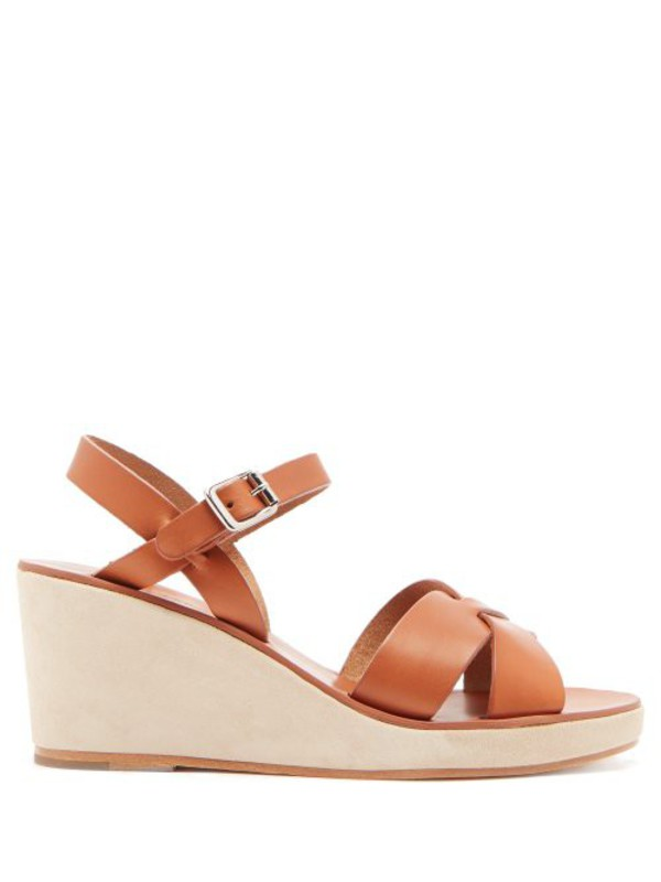A.P.C. A.p.c. - Judith Leather And Suede Wedge Sandals - Womens - Tan