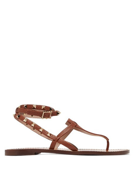Valentino - Rockstud Double Strap Leather Sandals - Womens - Tan