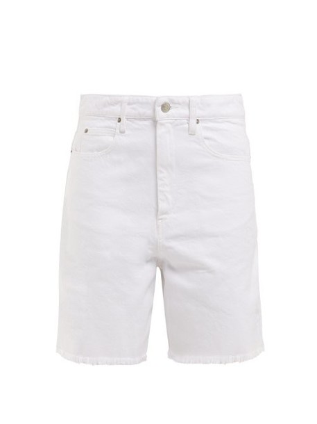 Isabel Marant Étoile - Ciny Frayed Denim Shorts - Womens - White