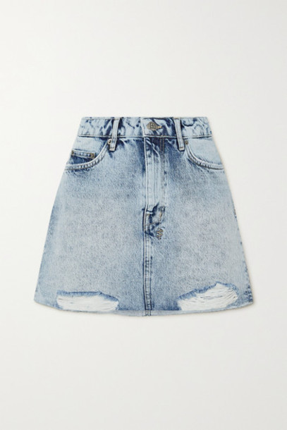 Ksubi - Distressed Acid-wash Denim Mini Skirt - Light denim