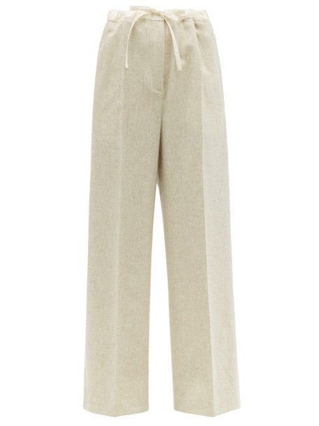 Jil Sander - Drawstring Waist Wool Blend Wide Leg Trousers - Womens - Light Grey
