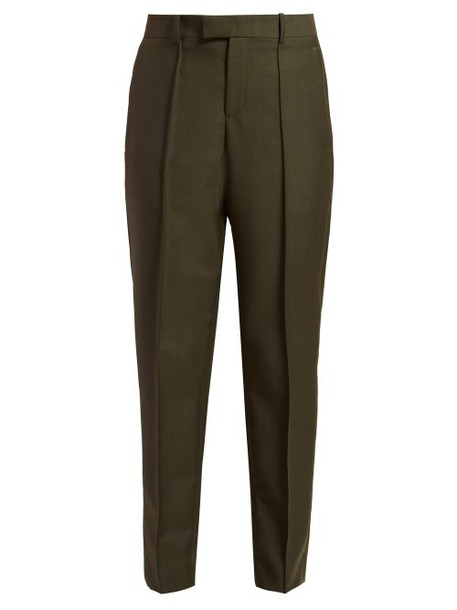 Bottega Veneta - Tapered Crepe Trousers - Womens - Dark Green
