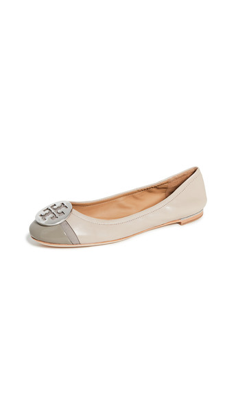Tory Burch Minnie Cap Toe Ballet Flats in taupe / grey