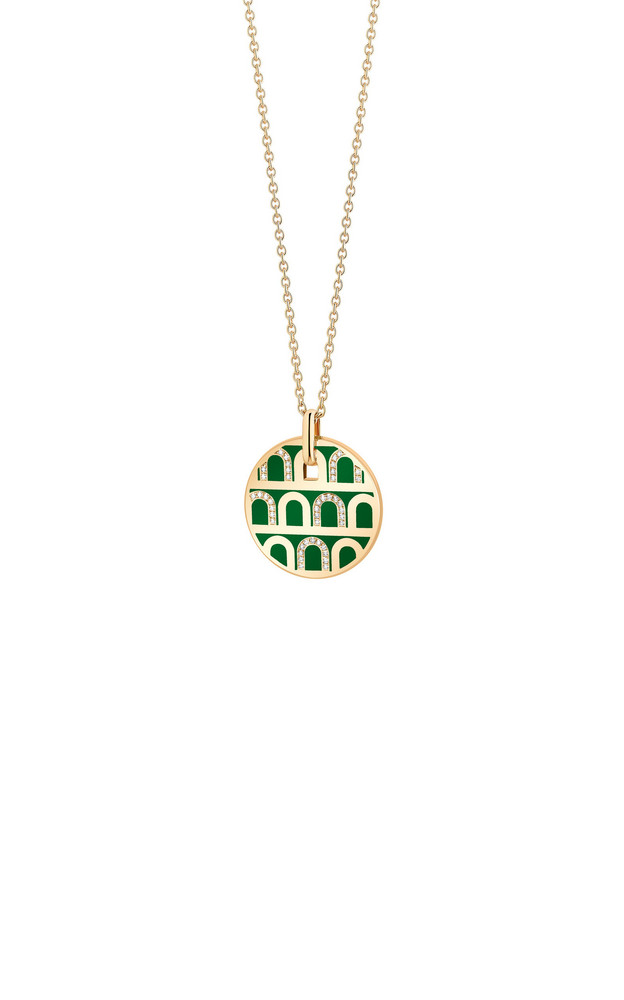 DAVIDOR L'Arc 18K Yellow Gold, Lacquered Ceramic and Diamond Necklace in green