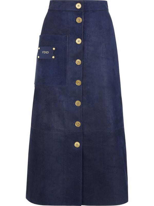 Fendi suede A-line skirt in blue