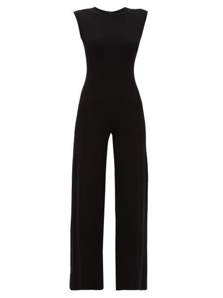 Norma Kamali - Wide Leg Jersey Jumpsuit - Womens - Black