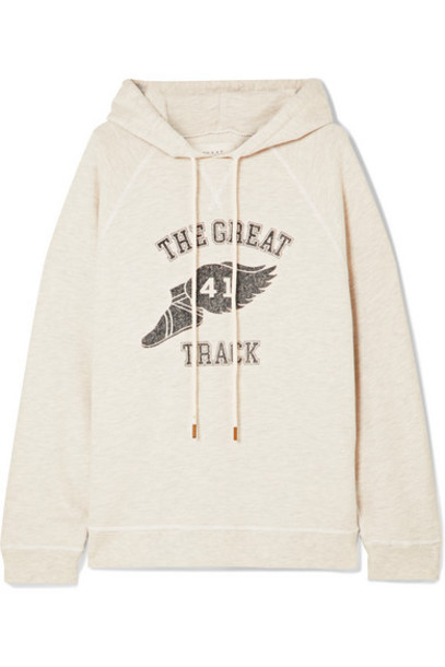 The Great - The Slouch Printed Cotton-blend Jersey Hoodie - Cream