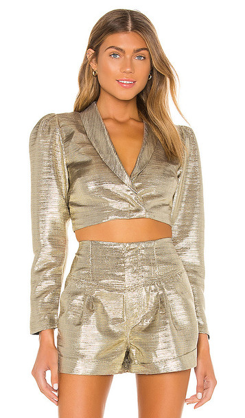 Lovers + Friends Lovers + Friends The Louane Blazer in Metallic Gold