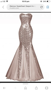 dress,rose gold,prom dress