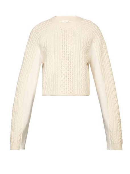Chloé Chloé - Cropped Cable Knit Sweater - Womens - Ivory