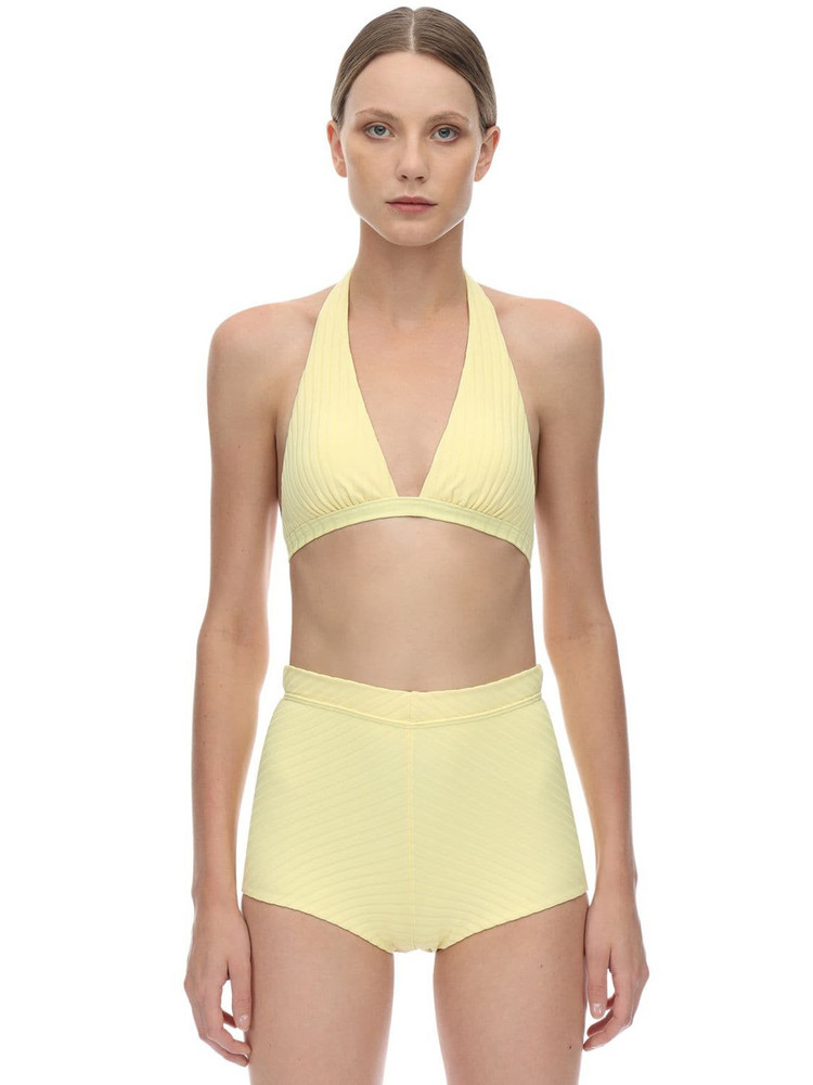 PEONY Banana Halter Neck Ribbed Bikini Top in yellow