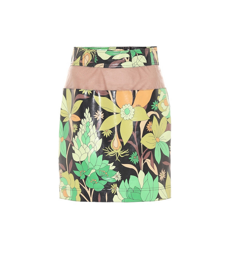 Fendi Floral coated-cotton miniskirt in green